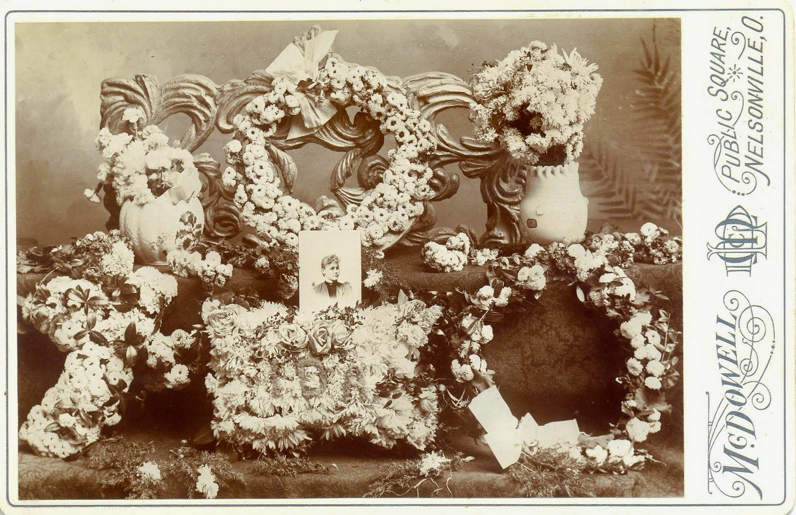 A Land Of Deepest Shade Funeral Flowers Cabinet Card Photographs