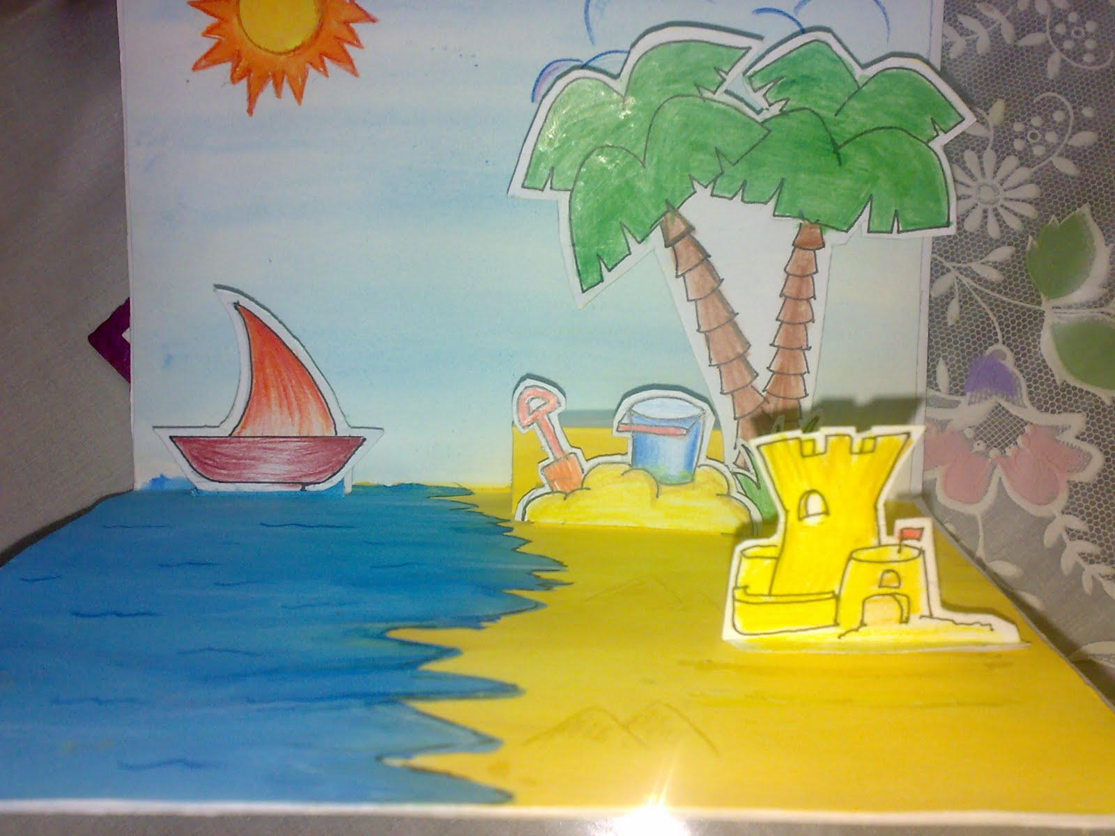 Shreyas creative work pop up greeting card a pop up greeting cardwhich she made for her school art project do notice the sand castles shaded with pencil in the fore ground kristyandbryce Gallery