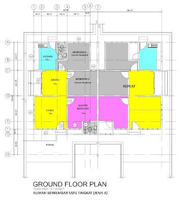 pelan lantai rumah berkembar 1 tingkat jenis a rumah banglo 1 tingkat