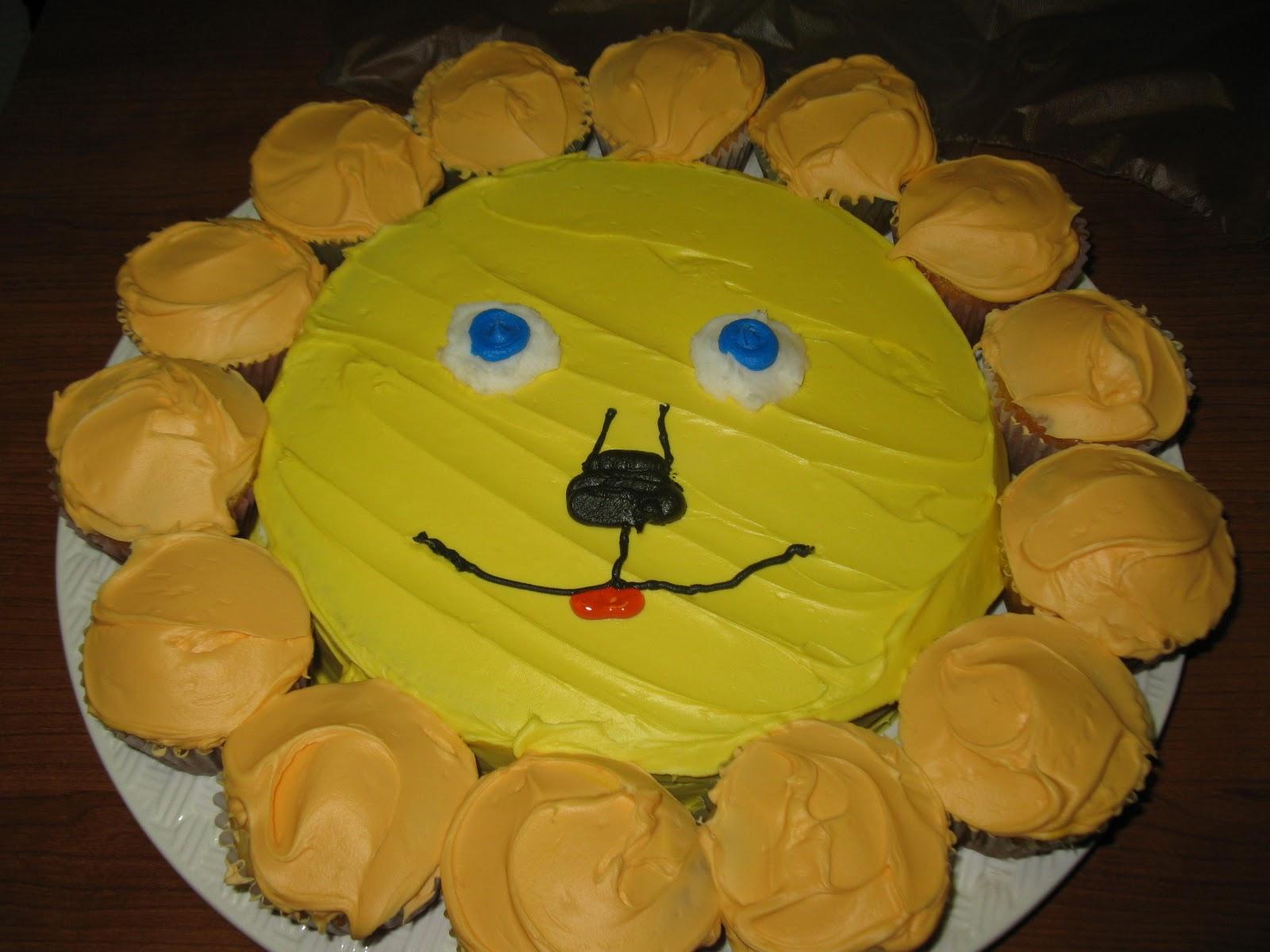 Easy Lion Cupcakes I made him this lion cake.