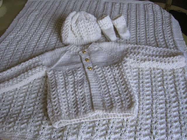 Crochet & Knit Enthusiasts: Baby Afghan and Sweater Set-Knitted