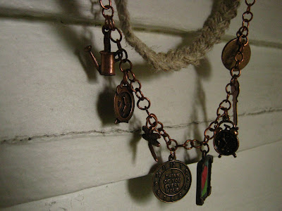 hemp braid and copper charm necklace