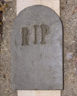 Unmolded tombstone.