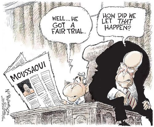 This Political Cartoon Shows The Use Of Due Process Using The Moussaoui Trial As Example This Trial Was A Great Example Because That Particular Case Gave A