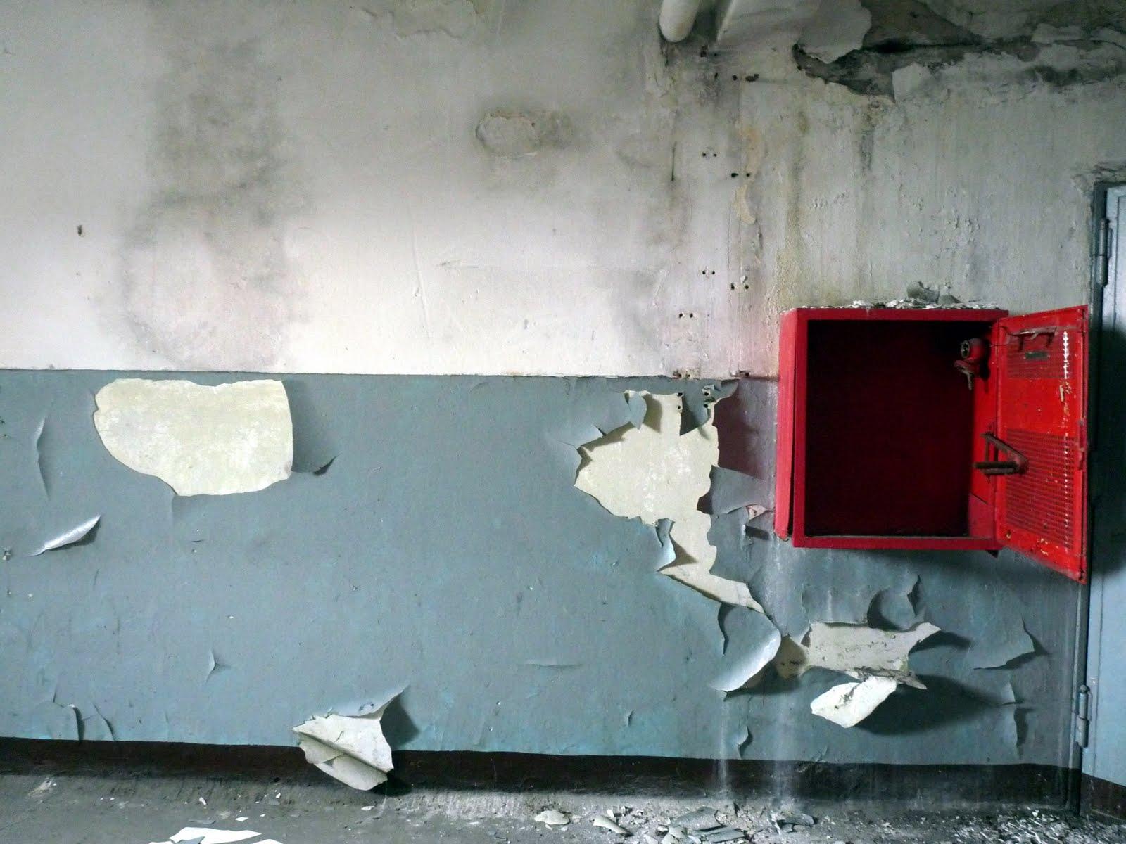 A dark hallway, broken glass,