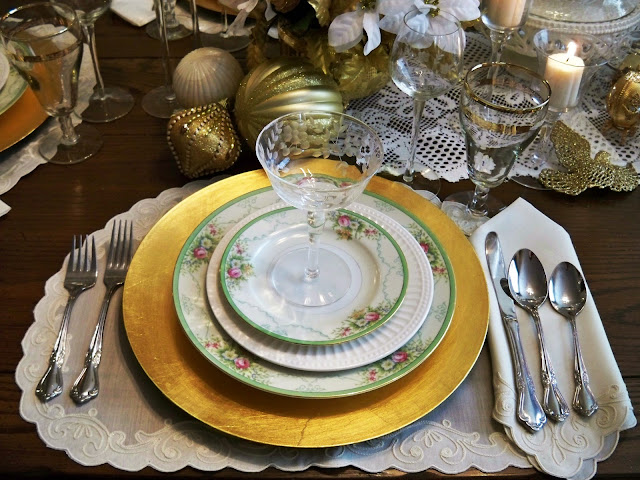 tablescape with goodwill, thrifty finds