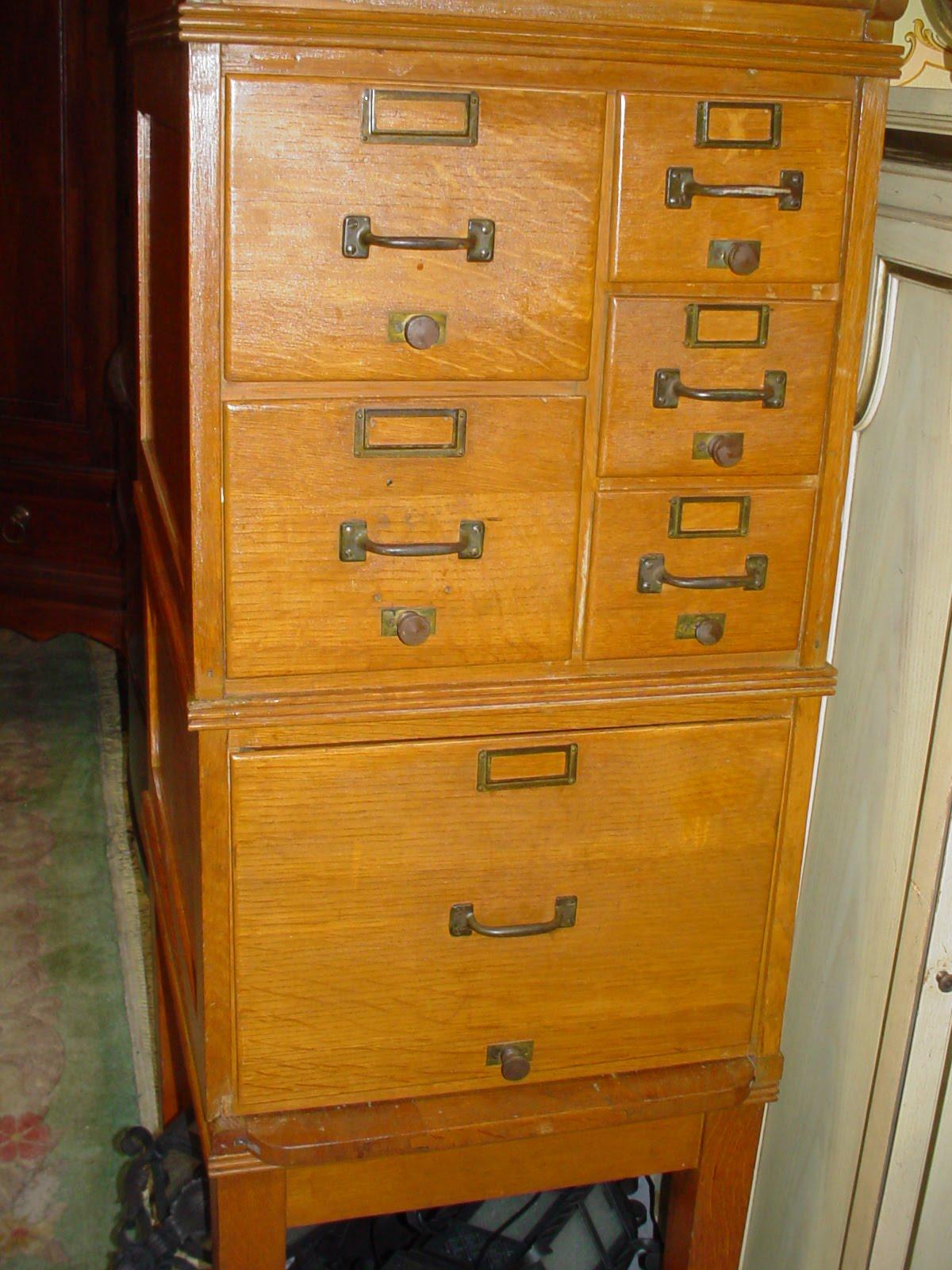 Fantastic Antique Oak Library File Cabinet - Park Estate Co.: Fantastic Antique Oak Library File Cabinet