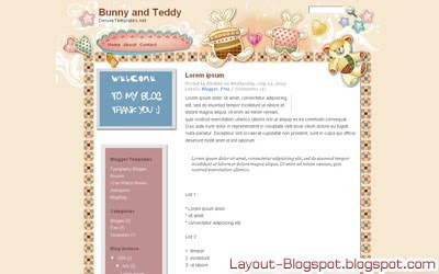 Download Bunny and Teddy Template