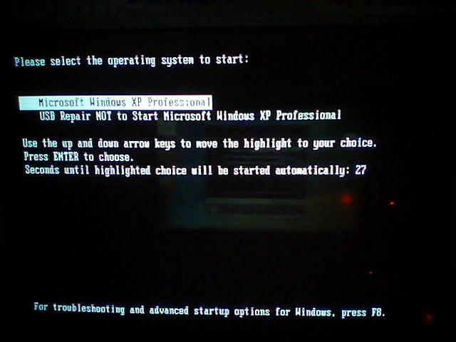 Select the operating system to start