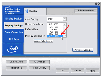 Custom resolution on Intel Graphic Control Panel