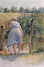 Mrs. Bryner in her Garden