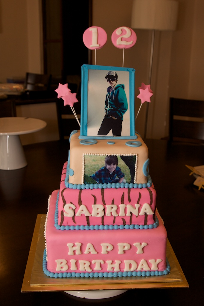 Justin Bieber cake. I made this 3 tier birthday cake for my daughters 12th