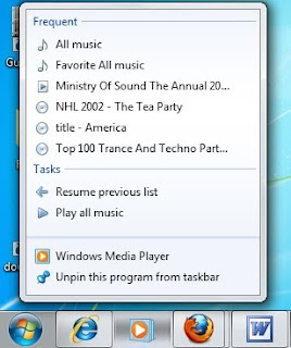 Windows 7 Jump lists