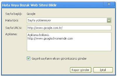 Hata veya bozuk web sayfası bildir