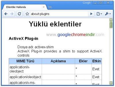 Google Chrome Yüklü Eklentiler