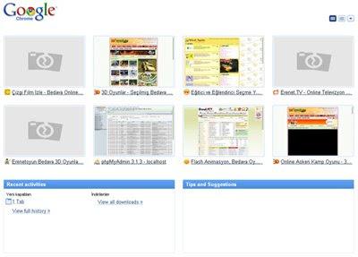 Google chrome güncellenen başlangıç sekmesi