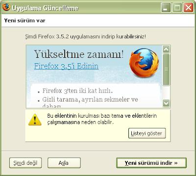 Firefox 3.5 Yeni Sürüm Uyarısı