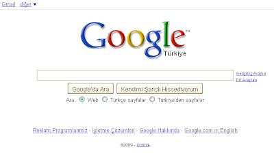 Google normal giriş sayfası