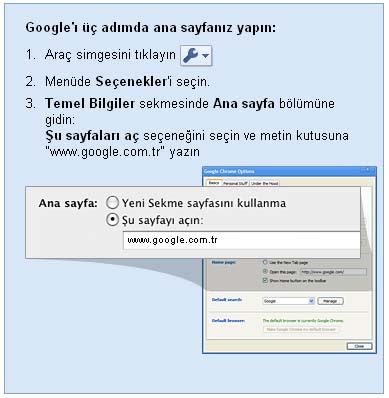 Google chrome google ana sayfa yapma ayarları