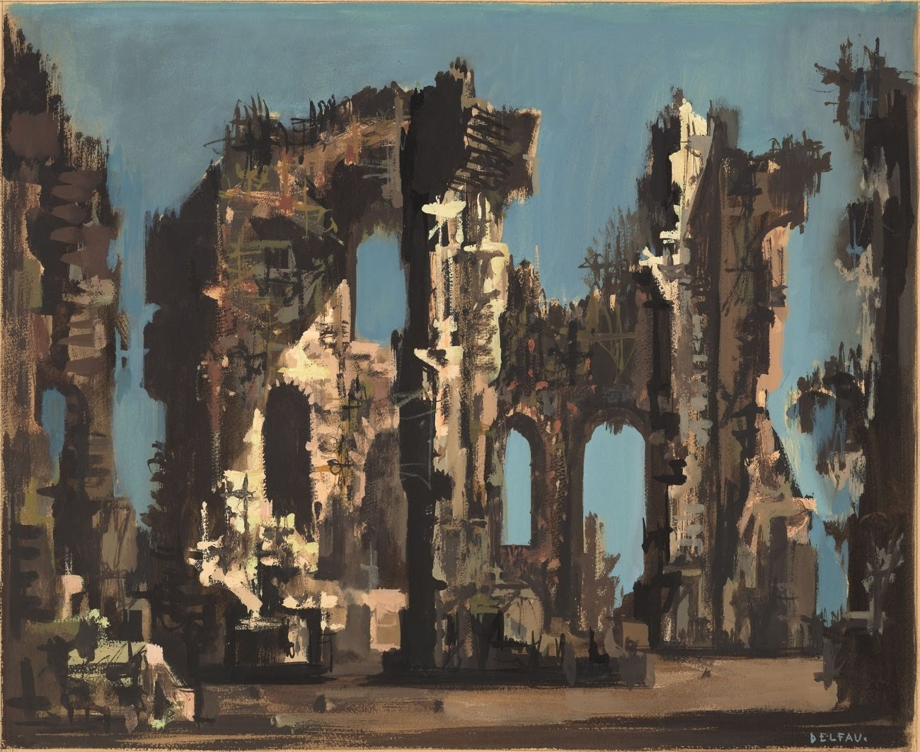 scene design: sketch of ruins