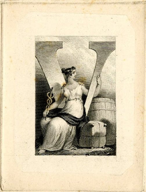Female figure seating at a V letter (Victory), holding staff with snakes. Design printed in black (19th c) - numismatics: banknote vignette