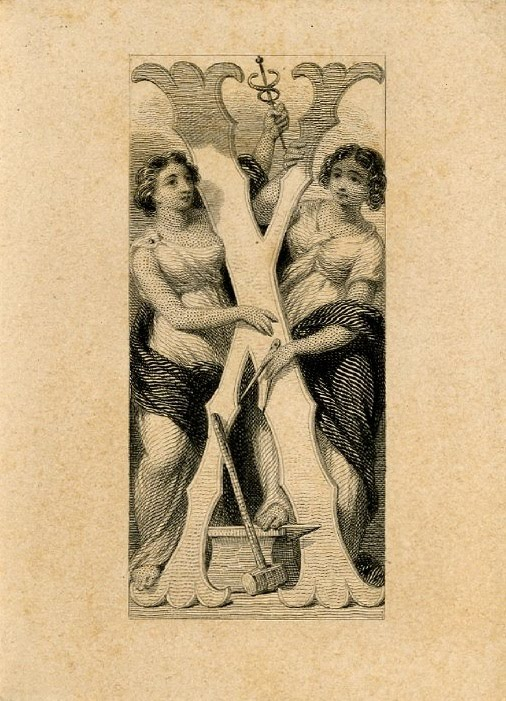 Letter X at centre and two female figures surrounding it. Design printed in black on tan paper. (19th c)