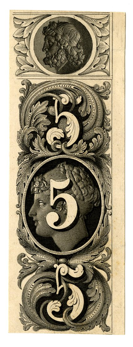 Vignette with number 5 and with female profile portrait as background at centre. Decorative patterns at upper and lower centre. Male profile portrait at top centre. Design printed in black. (19th c)