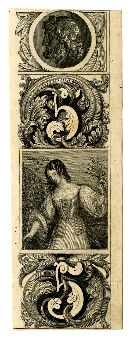 Young woman at centre. Decorative patterns with number 5 at upper and lower centre. Male profile portrait at top centre. Design printed in black. (19th c)
