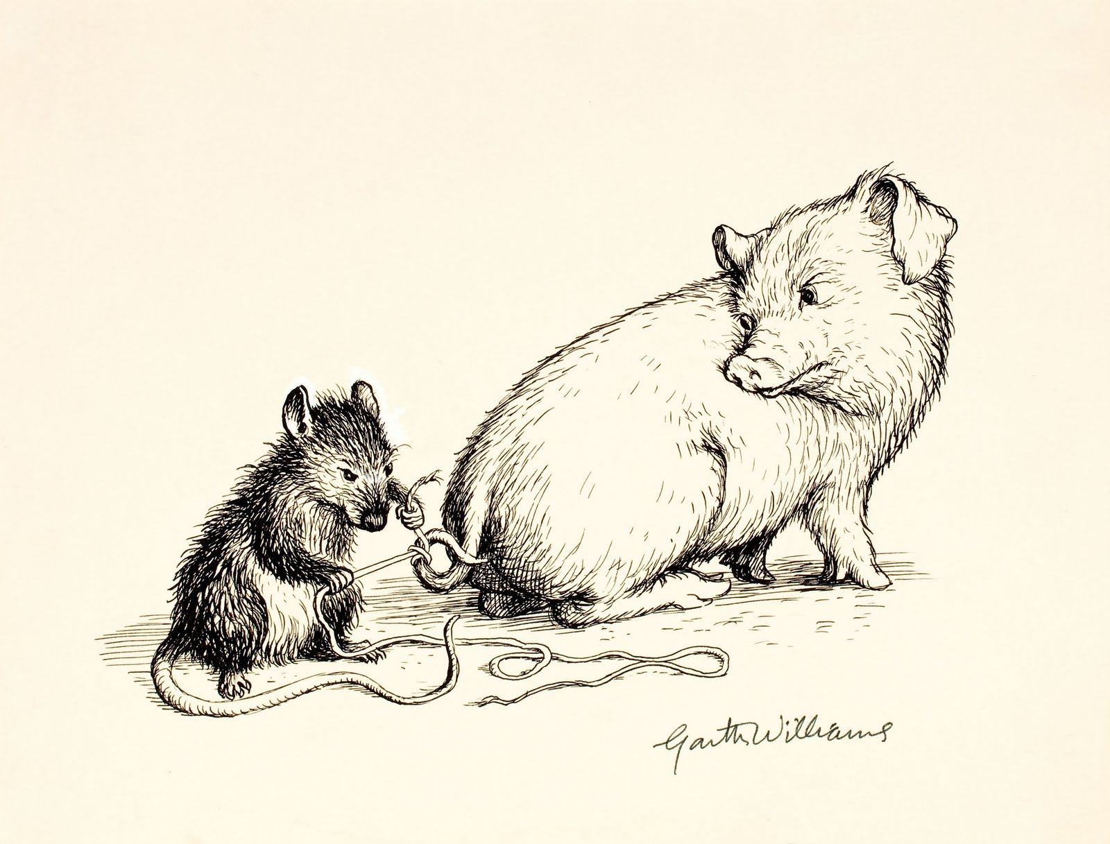 drawing of rat tying string to