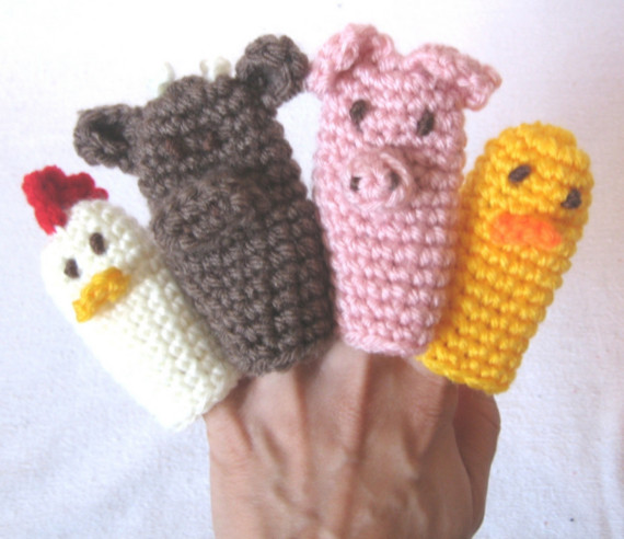 Knitting Patterns For Finger Puppets Free : CROCHET N PLAY DESIGNS: My favorite free patterns: Farmyard Finger Puppets
