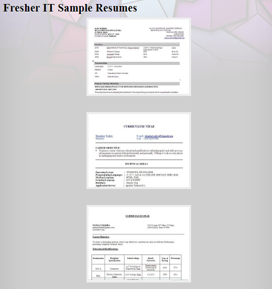 resume instance: Sample Resume Formats of ALL Types for Freshers