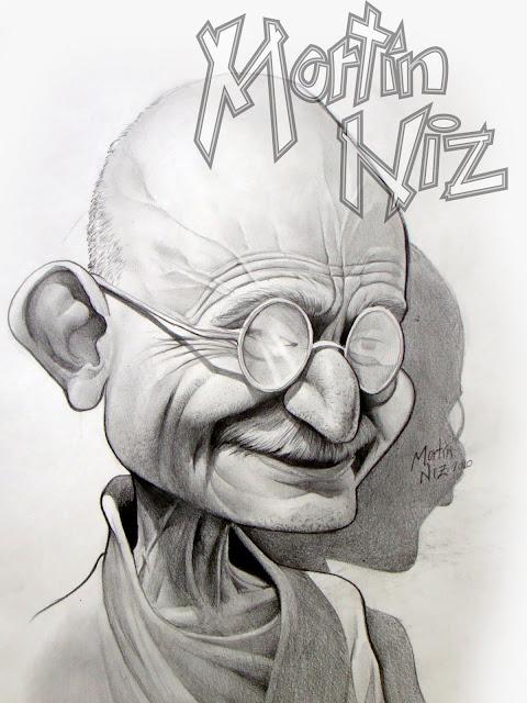 Caricatura de Gandhi en color