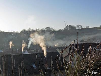 Luftverschmutzung und Smog durch Holzbefeuerung