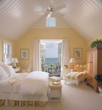 Nantucket decor cottage style completely coastal Master bedroom with yellow walls