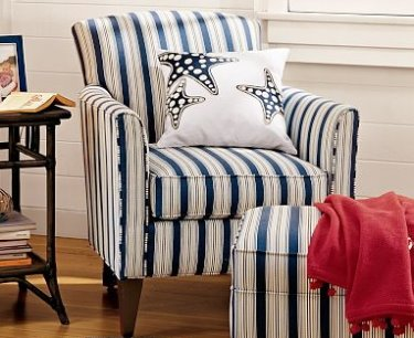 Charmant Blue And White Striped Chair With Red Throw