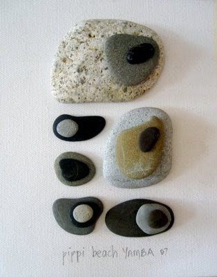beach stone art on canvas