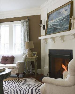 Living room fireplace decor
