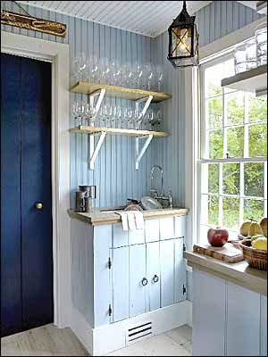 Nautical style nautical kitchen blue doors house ideas for Small beach cottage kitchen ideas