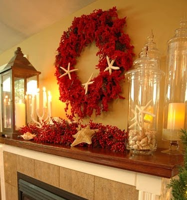 red Christmas mantel