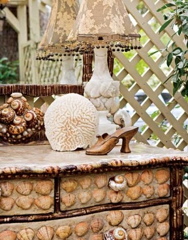 shell covered dresser
