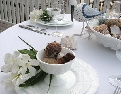 beach theme table setting