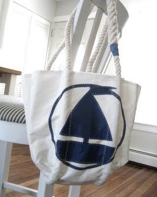 handmade bag from recycled sail