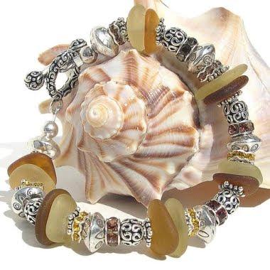 pulseira de prata de vidro do mar