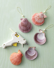 handmade shell ornaments with glitter