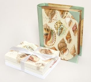 vintage shell notecards and box