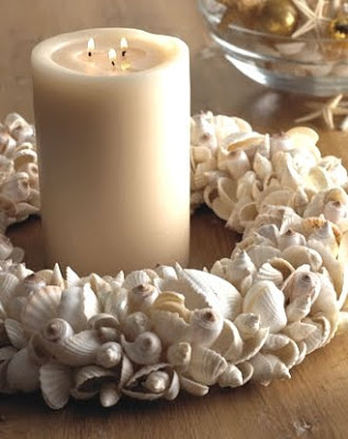 shell wreath as centerpiece with candle