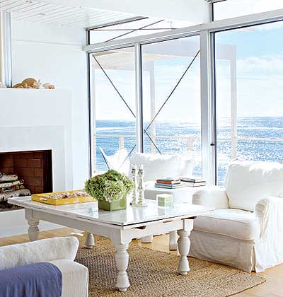 white living room with ocean view