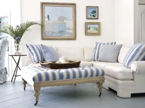 large blue and white striped ottoman