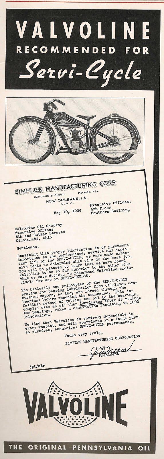 1936 valvoline and simplex ad