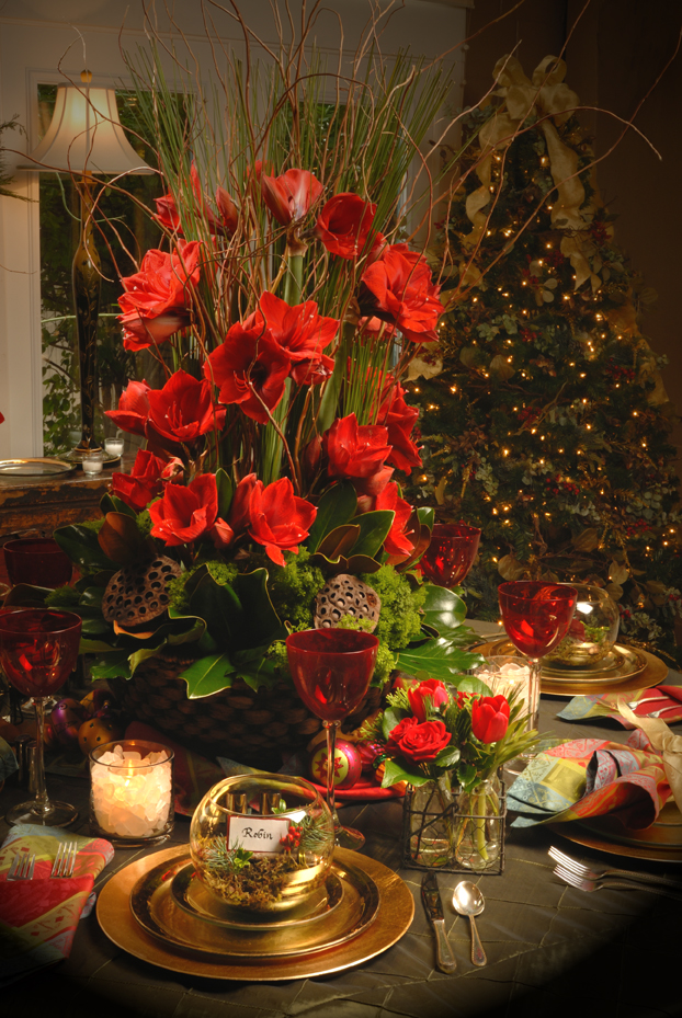 Robin wood flowers holiday tables for Amaryllis christmas decoration